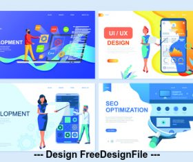 App development flat banner concept illustration vector