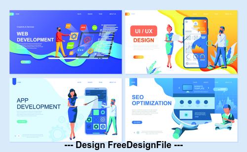 App development flat banner concept illustration vector
