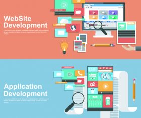 Application development banner vector