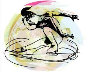 Arabesque spin silhouette vector