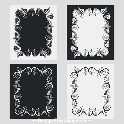 Art black and white frame vector 04