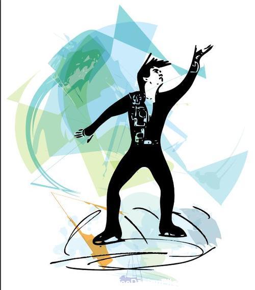 Art skating silhouette vector