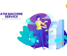 Atm machine service vector illustration