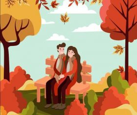 Autumn park couple vector