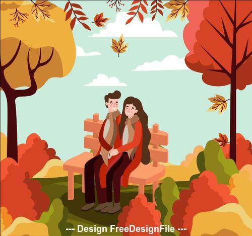 Autumn park couple vector