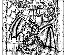Basilisk Engraved fantasy illustration vector