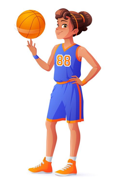 Basketball girl illustration vector