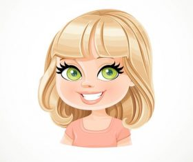 Beautiful blond girl with bob haircut vector
