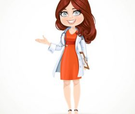 Beautiful cartoon female doctor vector