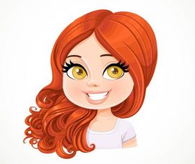 Beautiful girl with magnificent curly hair portrait vector