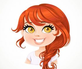 Beautiful girl with red hair carelessly braided plait vector