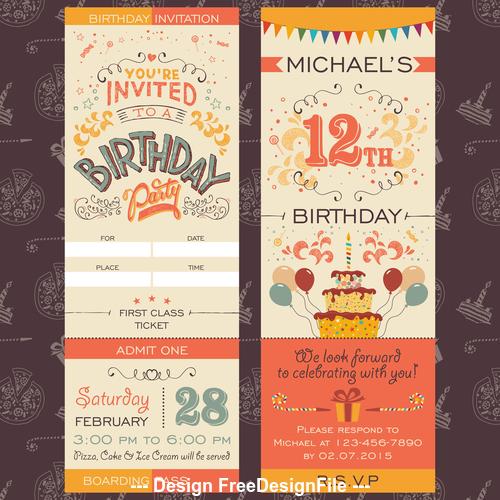 Birthday design elements banner vector