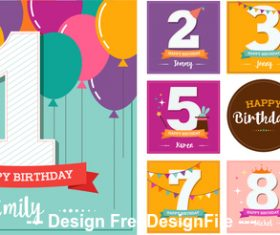 Birthday design elements card vector