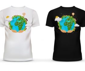Black and white t-shirt with earth picture vector
