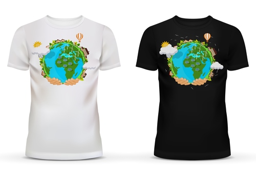 Black and white t shirt with earth picture vector