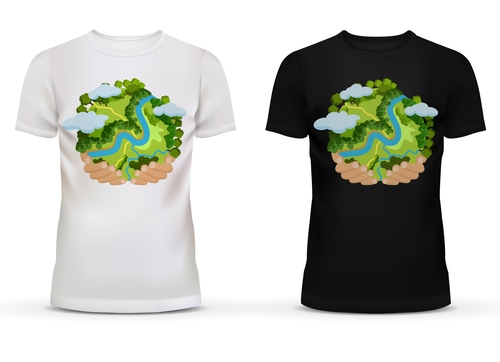 Black and white t shirt with green earth picture vector