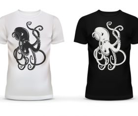 Black and white t-shirt with octopus picture vector