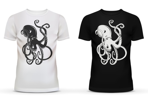 Black and white t shirt with octopus picture vector