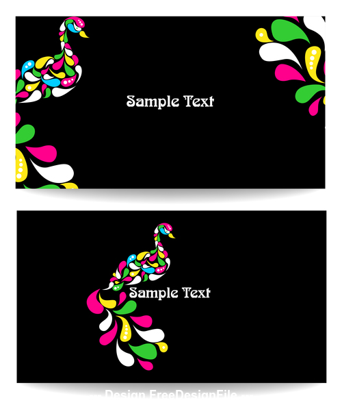 Black background card and abstract bird vector