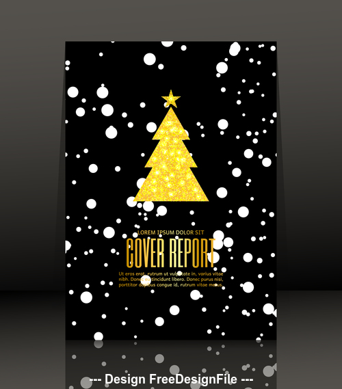 Black background christmas tree flyer vector