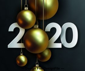 Black background new year golden ball decoration background vector