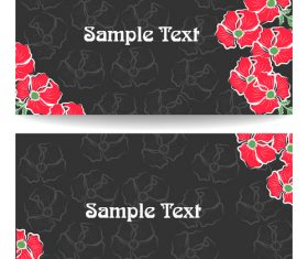 Black background red flower card vector