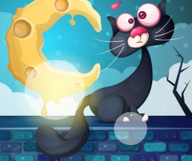 Black cat and cheese moon cartoon vector