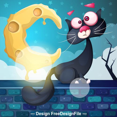 Black cat and cheese moon cartoon vector