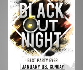 Black out night party flyer vector