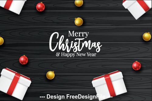 Black wooden background and gift box vector