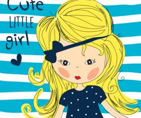 Blonde cute little girl vector