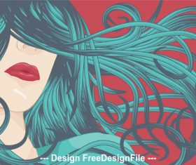 Blowing hair vector