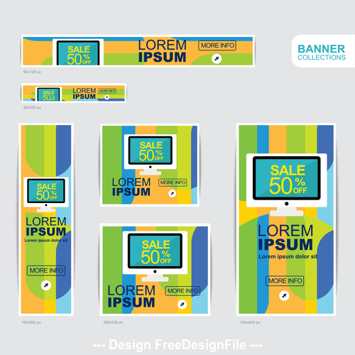 Blue and yellow banner advertising templates design vector