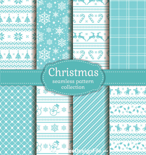 Blue background christmas seamless pattern vector