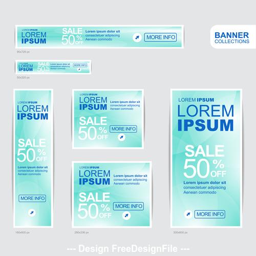 Blue banner advertising templates design vector
