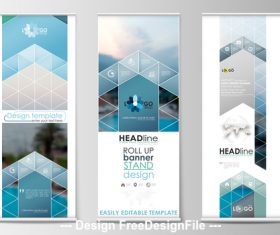 Blue roll-up banner design vector