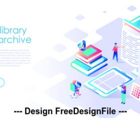 Book library web archive flat illustration vector