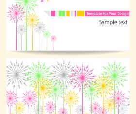 Bright color card and flower vector