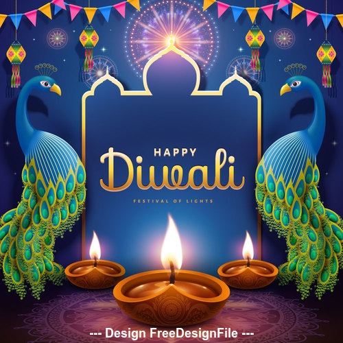 Bright diwali festival decoration vector illustration