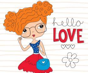 Brown-red hair girl vector