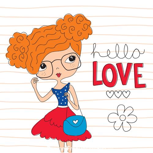 Brown red hair girl vector