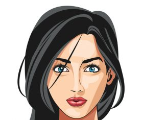 Brunette woman illustration vector