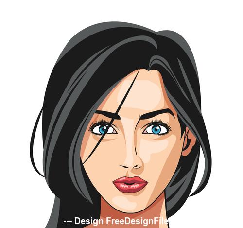 Brunette woman illustration vector