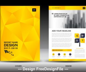 Business brochure flyer yellow cover design vector