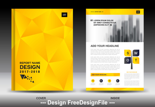 Business brochure flyer yellow cover design vector