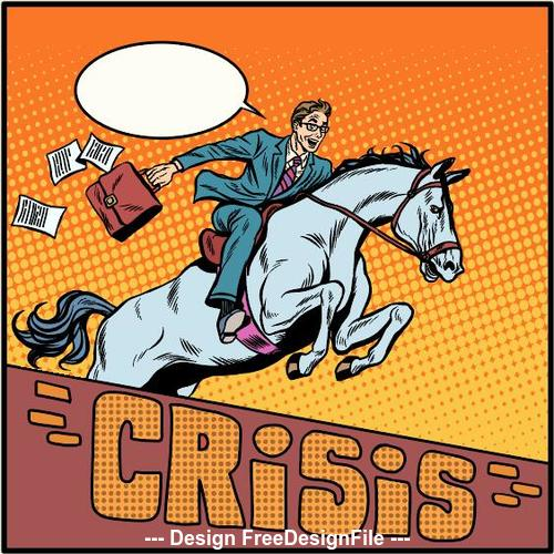 Business crisis comics vector