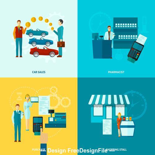 Business distribution professions illustration vector
