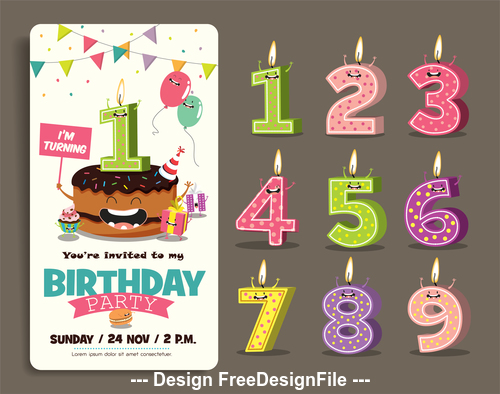 Cake and funny birthday candles vector