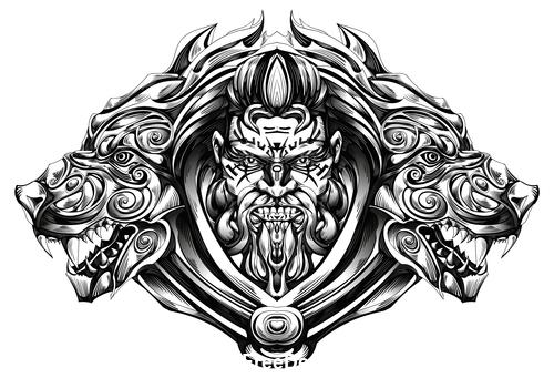 Caricature brave warrior vector