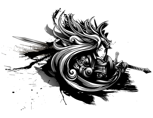 Caricature female warrior silhouette vector